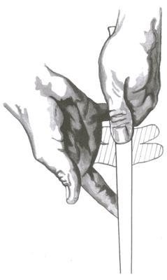 La position de la main droite sur le grip au golf