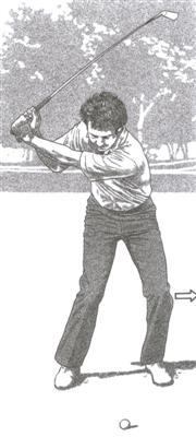 Début de la descente du swing de golf